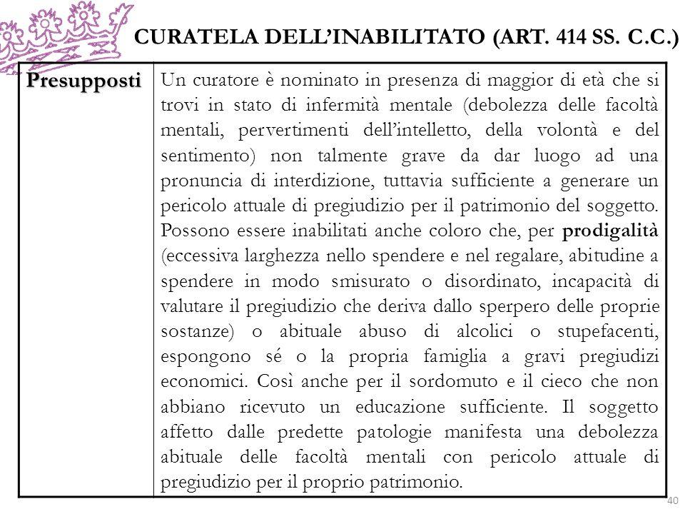 CURATELA DELL'INABILITATO (ART. 414 SS. C.C.) Presupposti