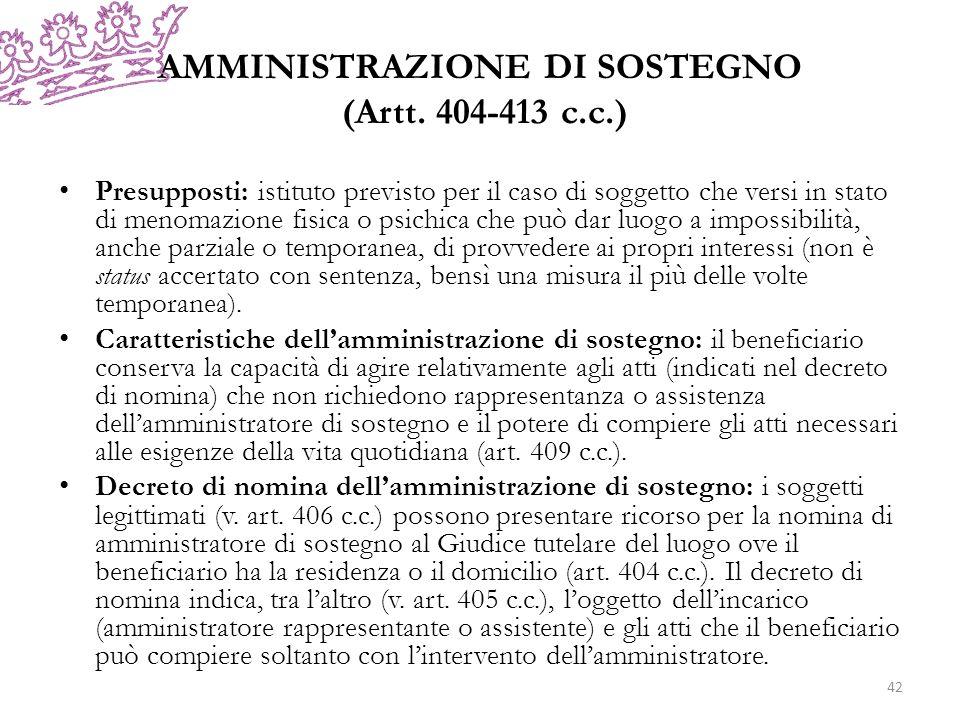 AMMINISTRAZIONE DI SOSTEGNO (Artt. 404-413 c.c.)