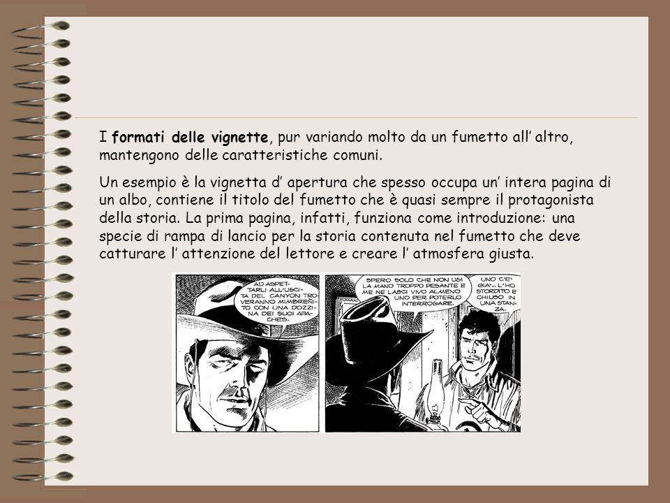 I formati delle vignette, pur variando molto da un fumetto all' altro, mantengono delle caratteristiche comuni.