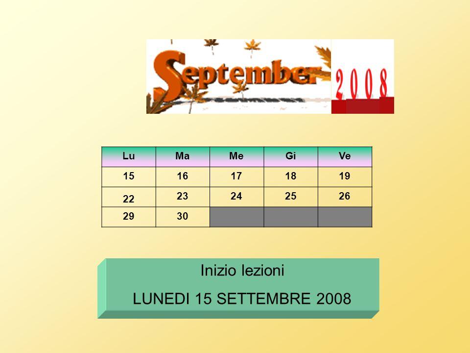 Inizio lezioni LUNEDI 15 SETTEMBRE 2008 Lu Ma Me Gi Ve 15 16 17 18 19
