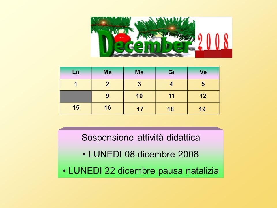 Sospensione attività didattica LUNEDI 08 dicembre 2008