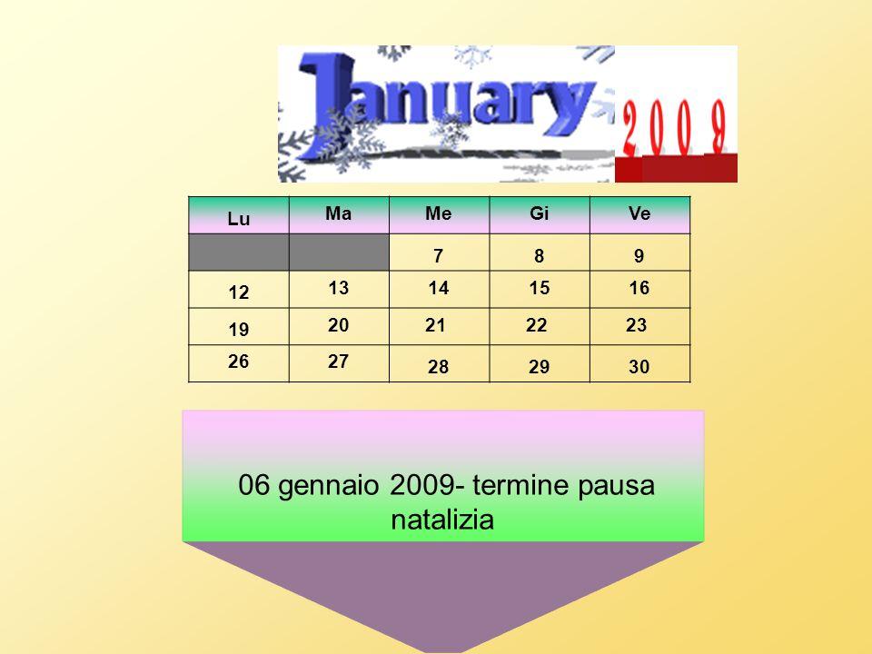 06 gennaio 2009- termine pausa natalizia