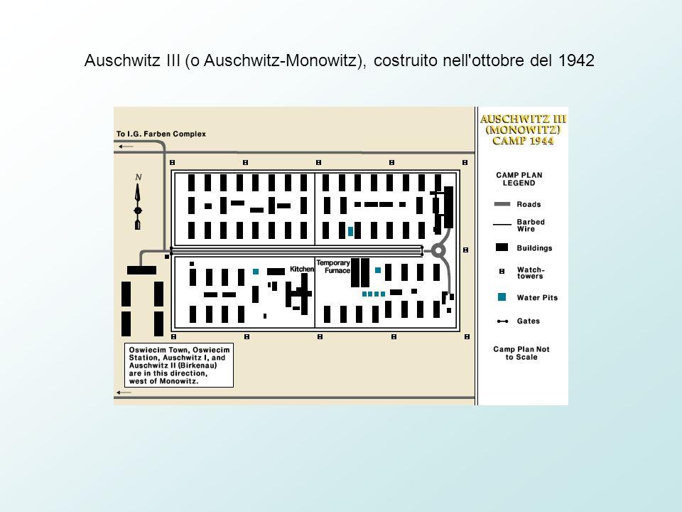 Auschwitz III (o Auschwitz-Monowitz), costruito nell ottobre del 1942
