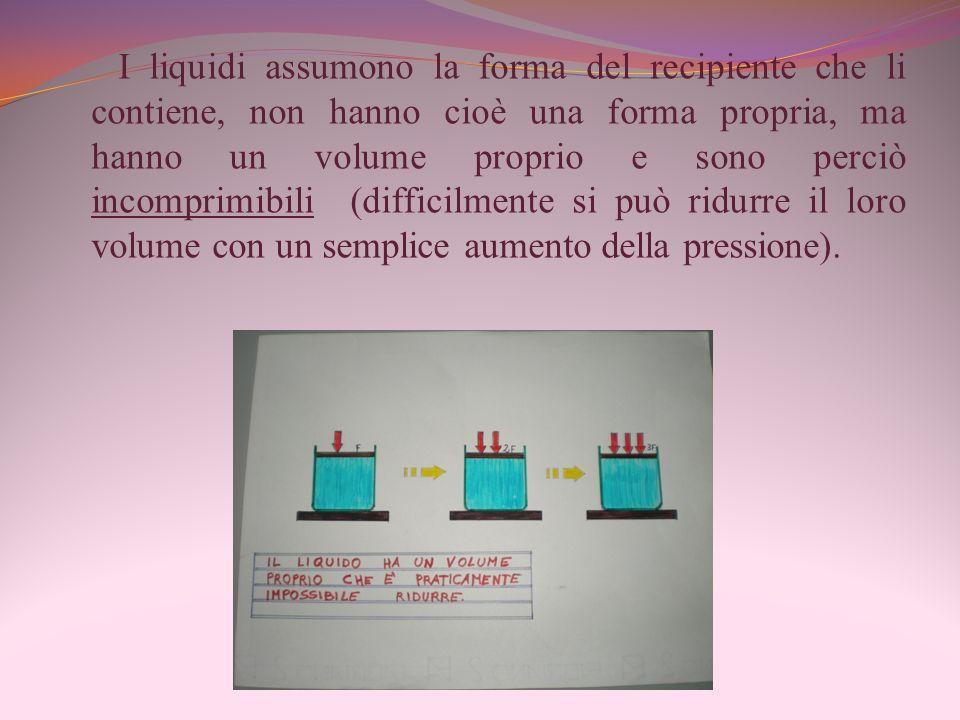 I liquidi assumono la forma del recipiente che li contiene, non hanno cioè una forma propria, ma hanno un volume proprio e sono perciò incomprimibili (difficilmente si può ridurre il loro volume con un semplice aumento della pressione).