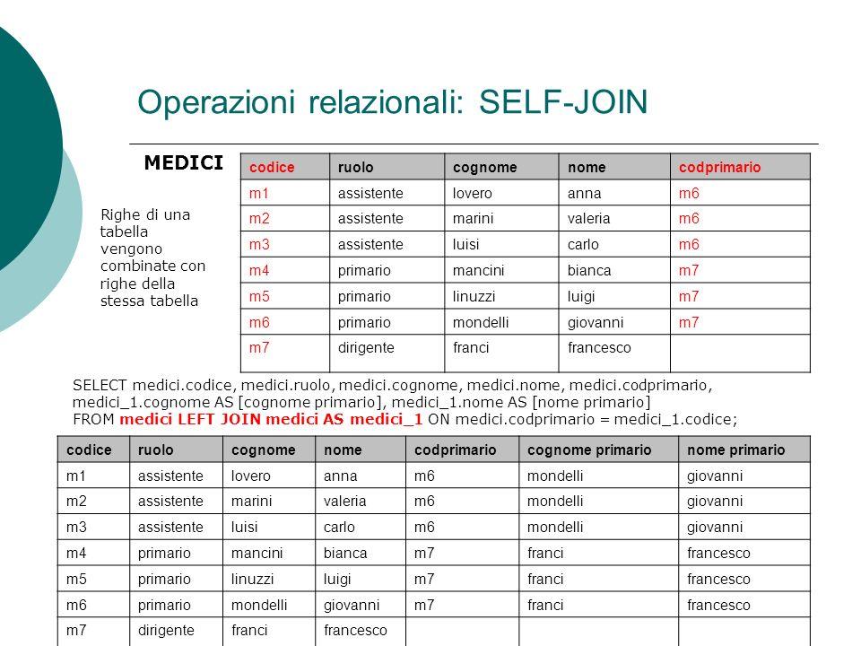 Operazioni relazionali: SELF-JOIN