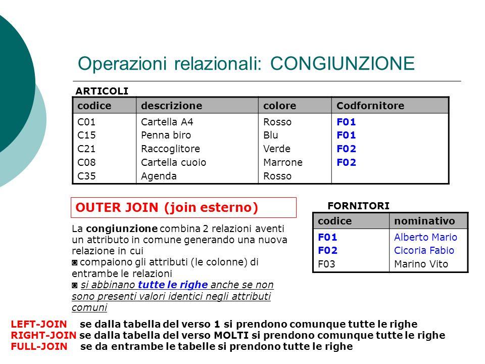 Operazioni relazionali: CONGIUNZIONE