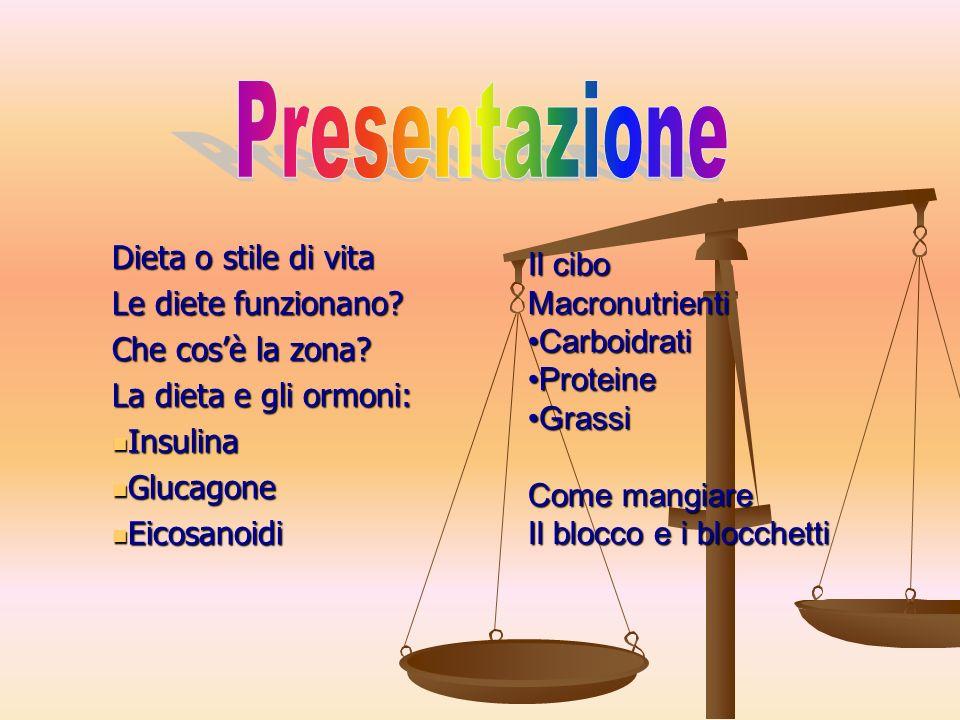 Presentazione Dieta o stile di vita Il cibo Le diete funzionano