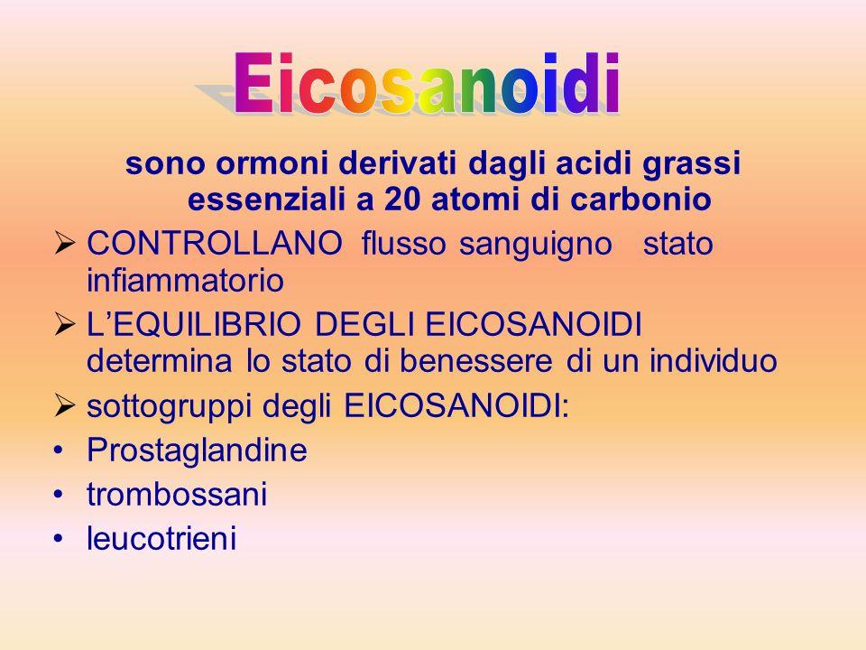 Eicosanoidi sono ormoni derivati dagli acidi grassi essenziali a 20 atomi di carbonio. CONTROLLANO flusso sanguigno stato infiammatorio.