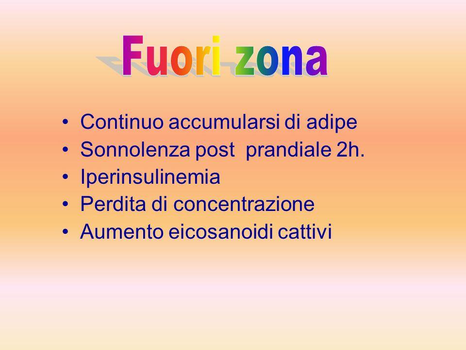 Fuori zona Continuo accumularsi di adipe Sonnolenza post prandiale 2h.
