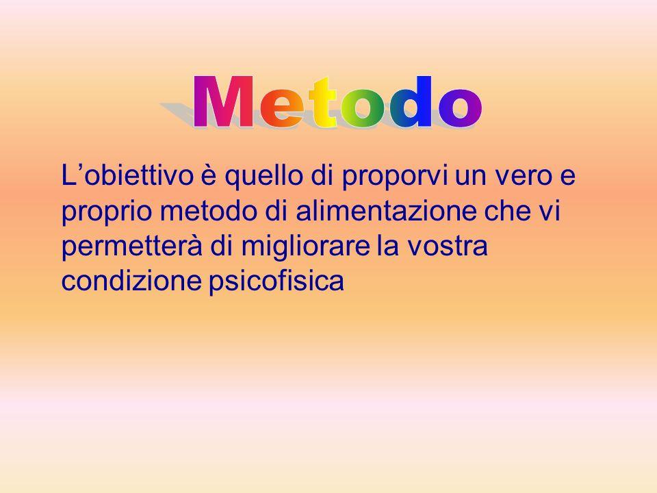 Metodo L'obiettivo è quello di proporvi un vero e proprio metodo di alimentazione che vi permetterà di migliorare la vostra condizione psicofisica.