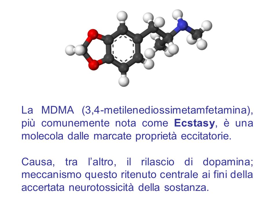 La MDMA (3,4-metilenediossimetamfetamina), più comunemente nota come Ecstasy, è una molecola dalle marcate proprietà eccitatorie.