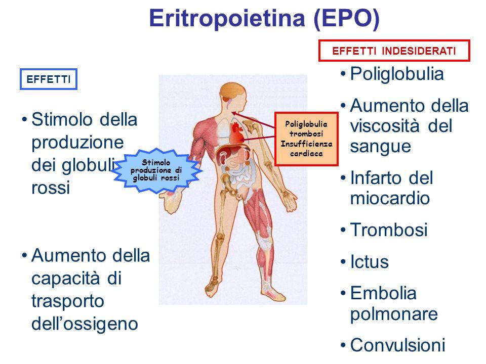 Eritropoietina (EPO) Poliglobulia Aumento della viscosità del sangue