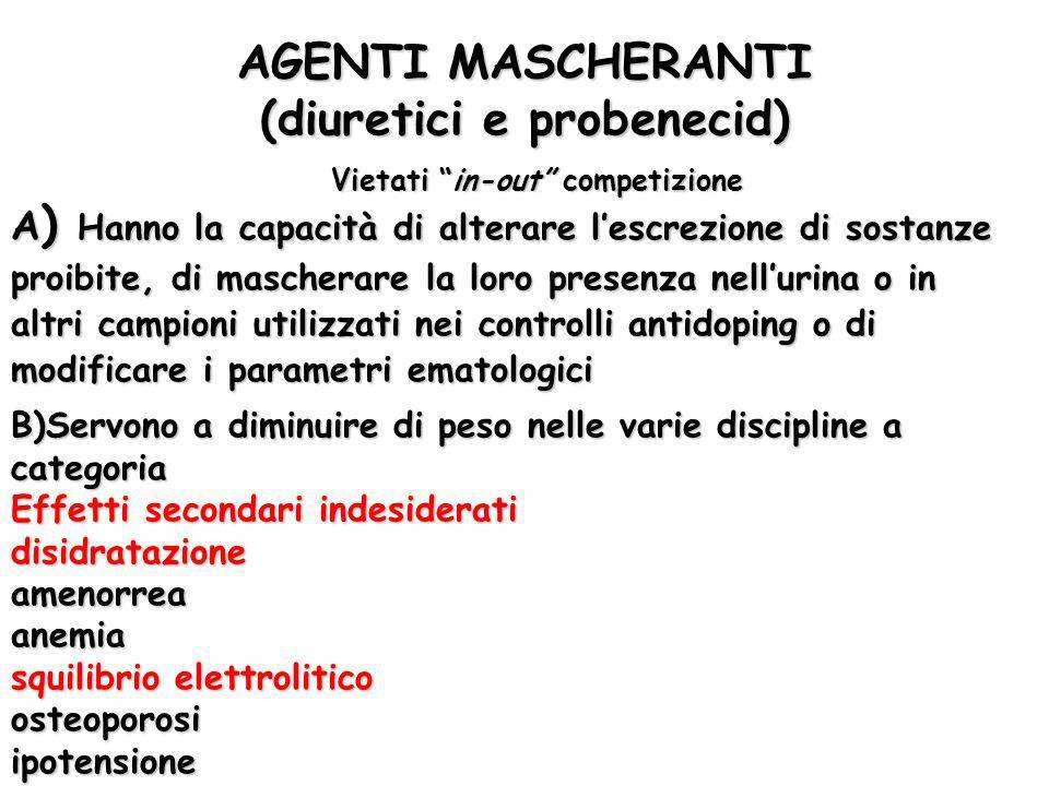 AGENTI MASCHERANTI (diuretici e probenecid)