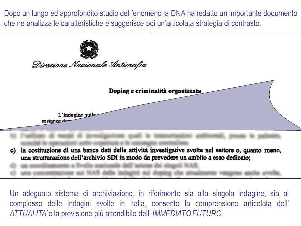 Dopo un lungo ed approfondito studio del fenomeno la DNA ha redatto un importante documento che ne analizza le caratteristiche e suggerisce poi un'articolata strategia di contrasto.