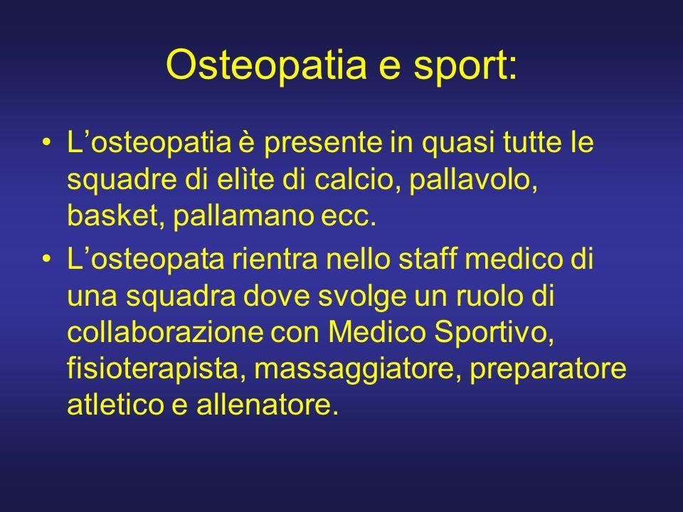 Osteopatia e sport: L'osteopatia è presente in quasi tutte le squadre di elìte di calcio, pallavolo, basket, pallamano ecc.