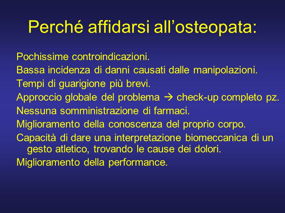 Perché affidarsi all'osteopata: