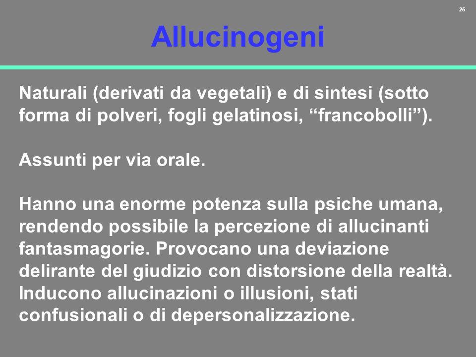 Allucinogeni Naturali (derivati da vegetali) e di sintesi (sotto forma di polveri, fogli gelatinosi, francobolli ).