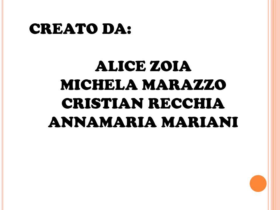 CREATO DA: ALICE ZOIA MICHELA MARAZZO CRISTIAN RECCHIA ANNAMARIA MARIANI