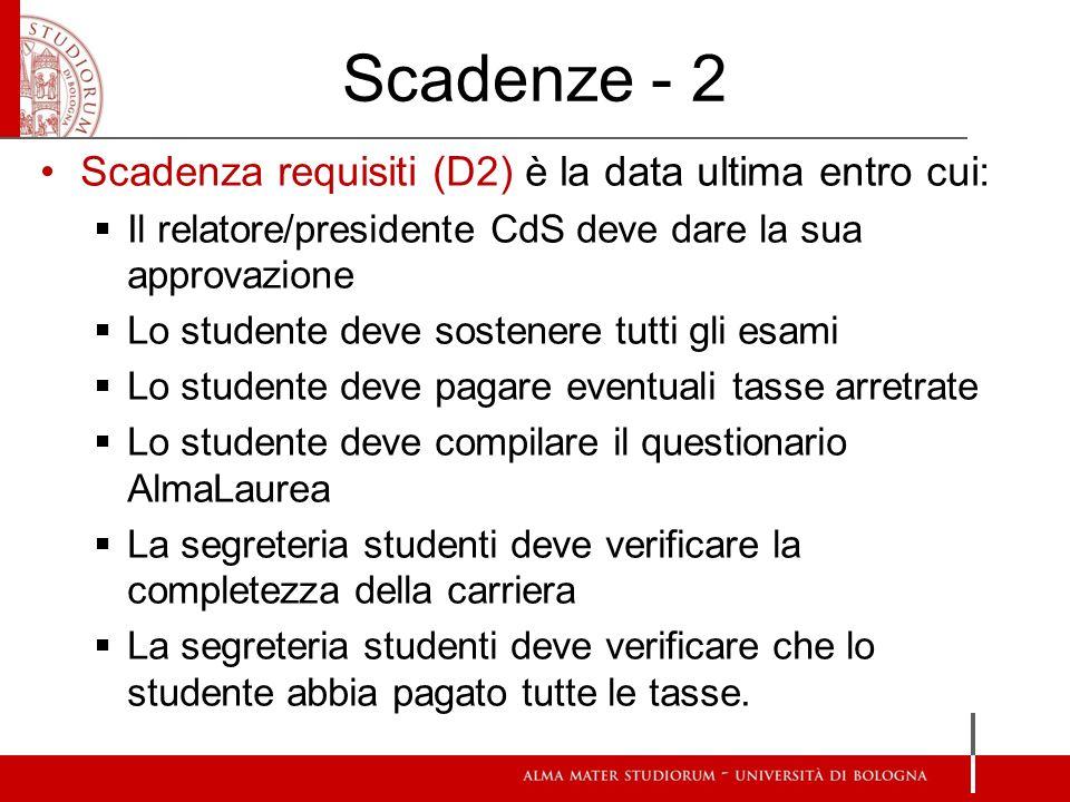 Scadenze - 2 Scadenza requisiti (D2) è la data ultima entro cui: