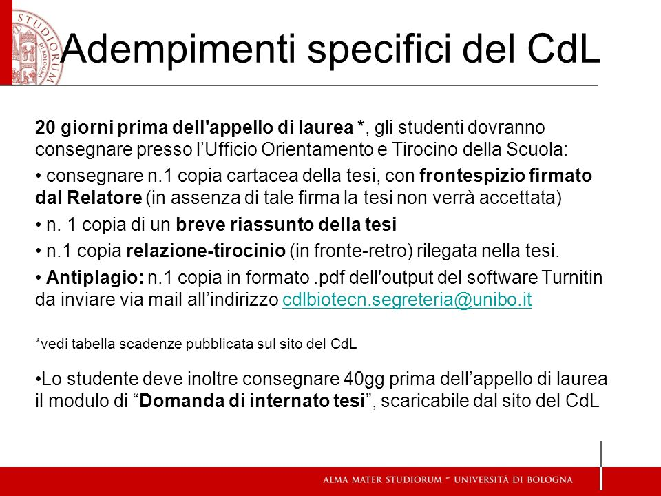 Adempimenti specifici del CdL