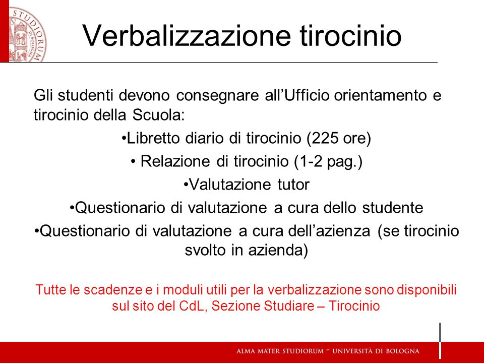 Verbalizzazione tirocinio