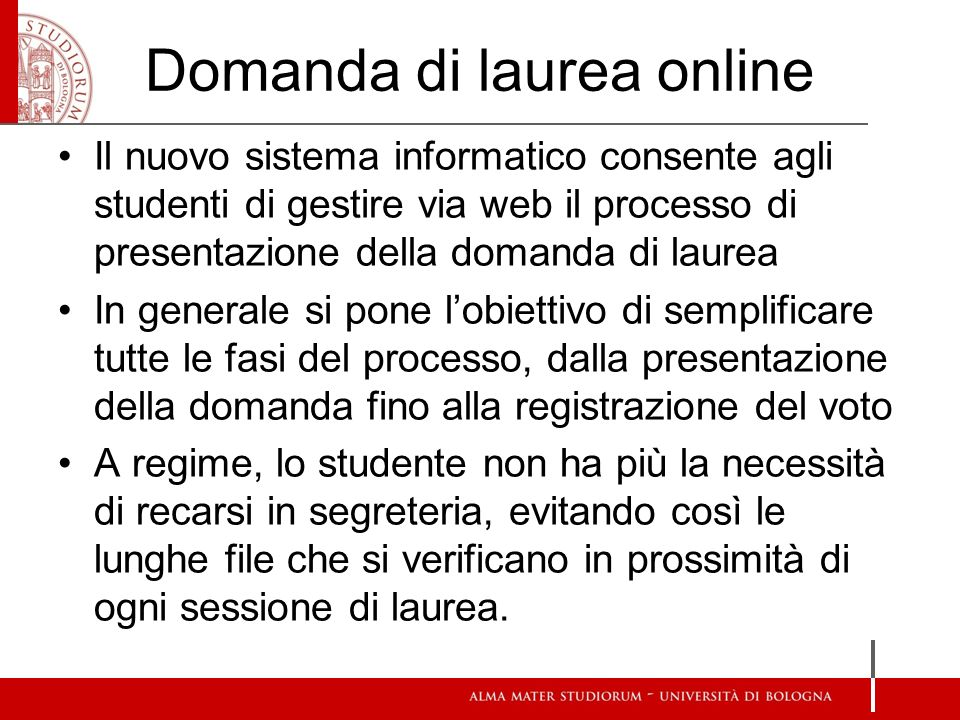 Domanda di laurea online