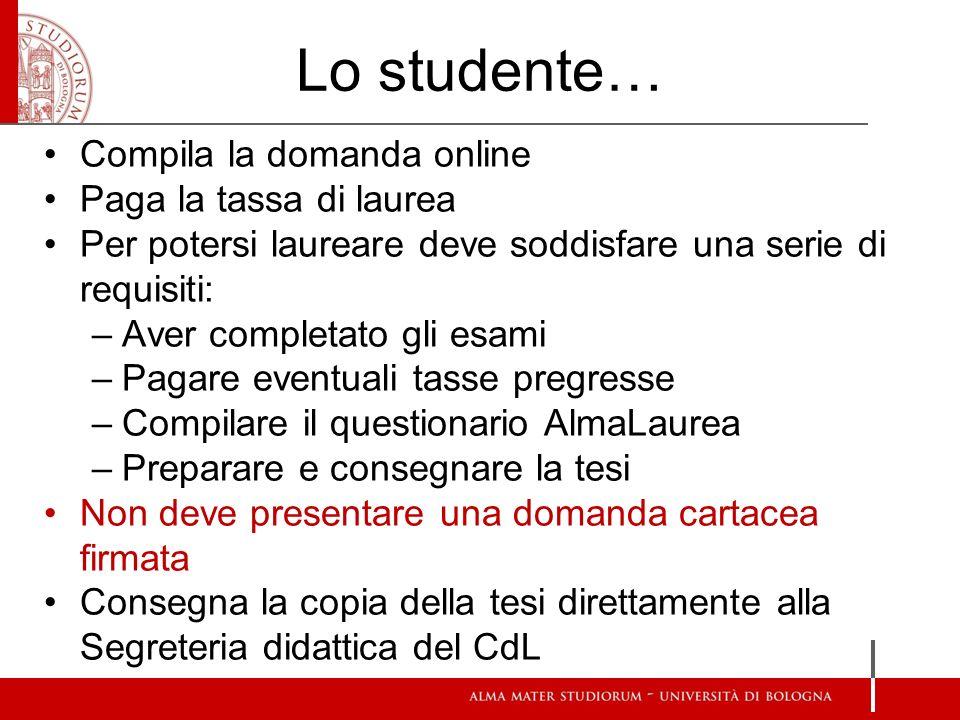 Lo studente… Compila la domanda online Paga la tassa di laurea