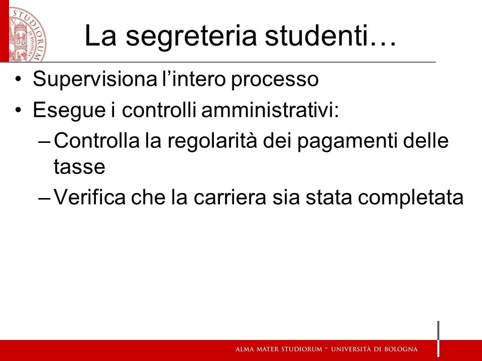 La segreteria studenti…