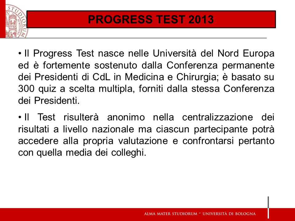 PROGRESS TEST 2013 Scienze d Base: Aree esaminate