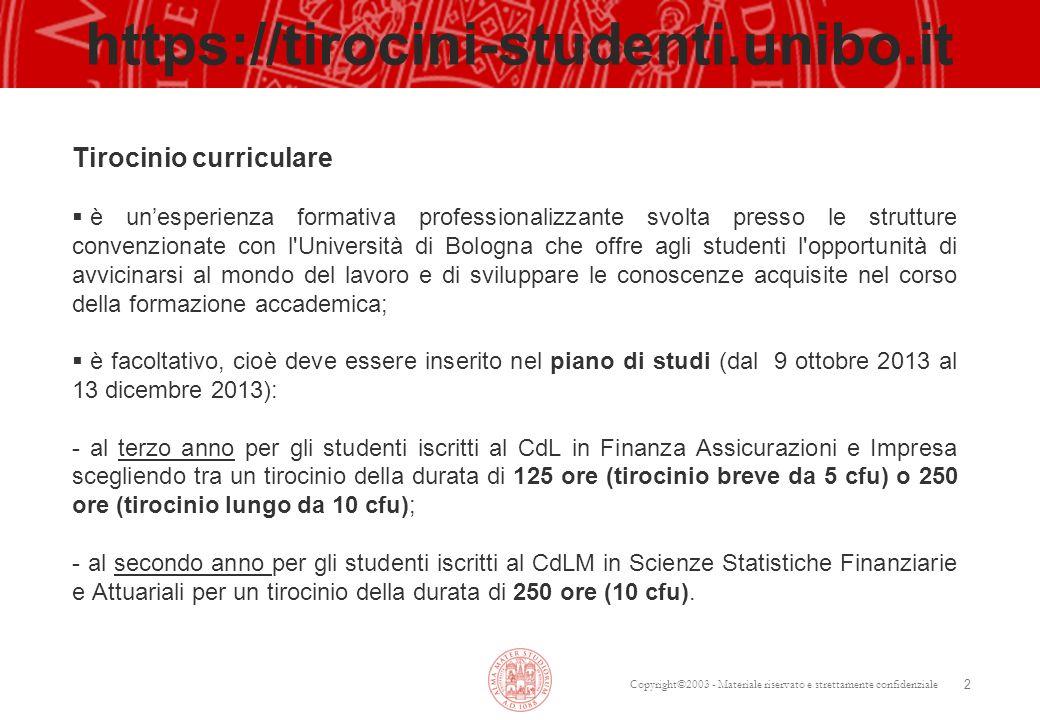 https://tirocini-studenti.unibo.it Tirocinio curriculare