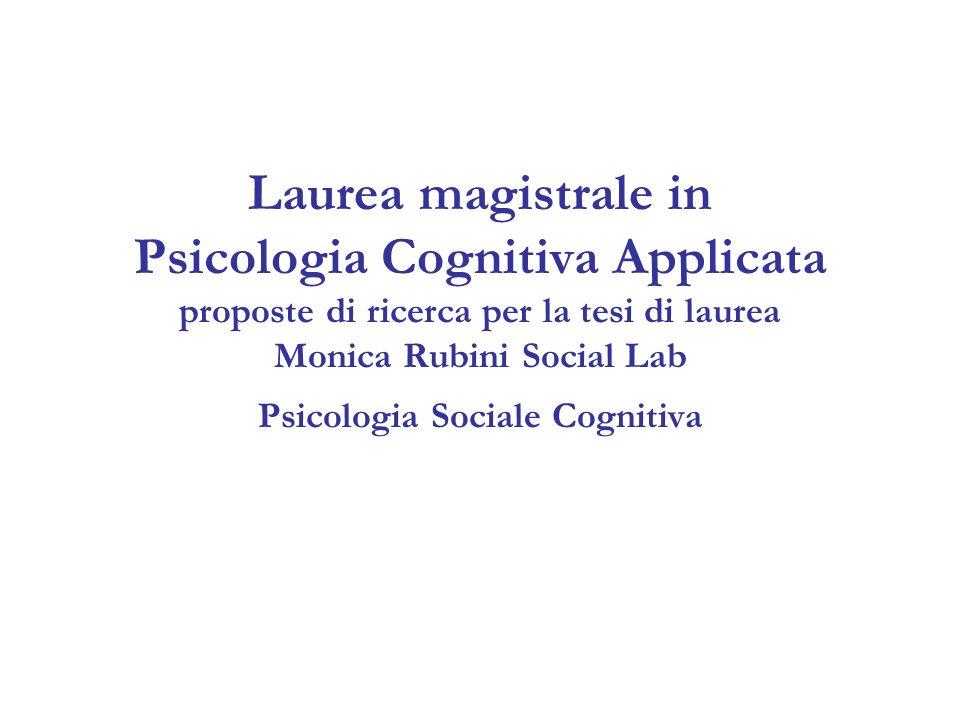Laurea magistrale in Psicologia Cognitiva Applicata proposte di ricerca per la tesi di laurea Monica Rubini Social Lab Psicologia Sociale Cognitiva