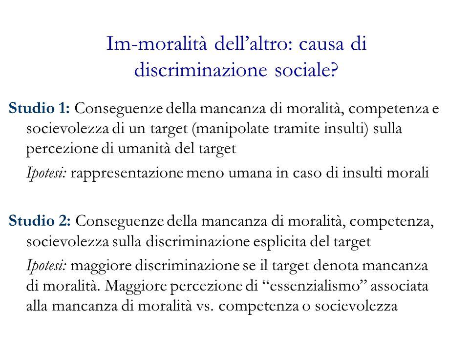 Im-moralità dell'altro: causa di discriminazione sociale