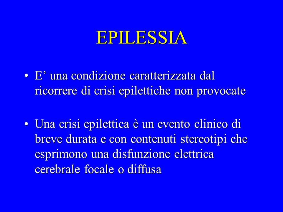 EPILESSIA E' una condizione caratterizzata dal ricorrere di crisi epilettiche non provocate.