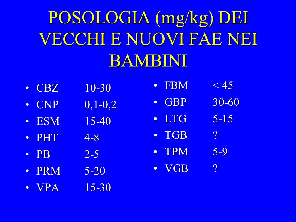 POSOLOGIA (mg/kg) DEI VECCHI E NUOVI FAE NEI BAMBINI