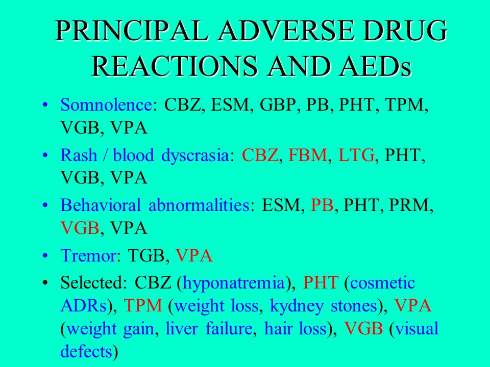 PRINCIPAL ADVERSE DRUG REACTIONS AND AEDs