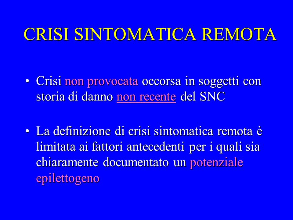 CRISI SINTOMATICA REMOTA