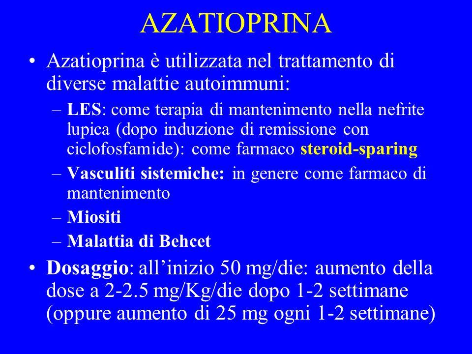 AZATIOPRINA Azatioprina è utilizzata nel trattamento di diverse malattie autoimmuni: