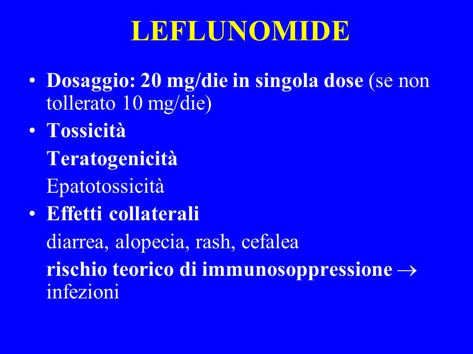 LEFLUNOMIDE Dosaggio: 20 mg/die in singola dose (se non tollerato 10 mg/die) Tossicità. Teratogenicità.