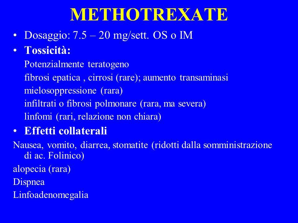 METHOTREXATE Dosaggio: 7.5 – 20 mg/sett. OS o IM Tossicità: