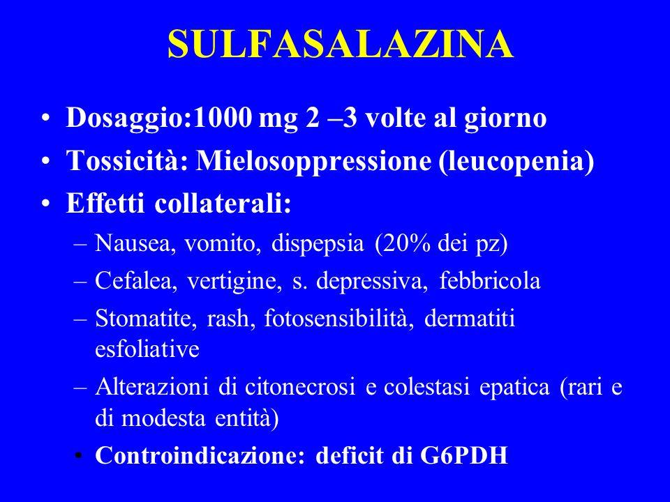 SULFASALAZINA Dosaggio:1000 mg 2 –3 volte al giorno