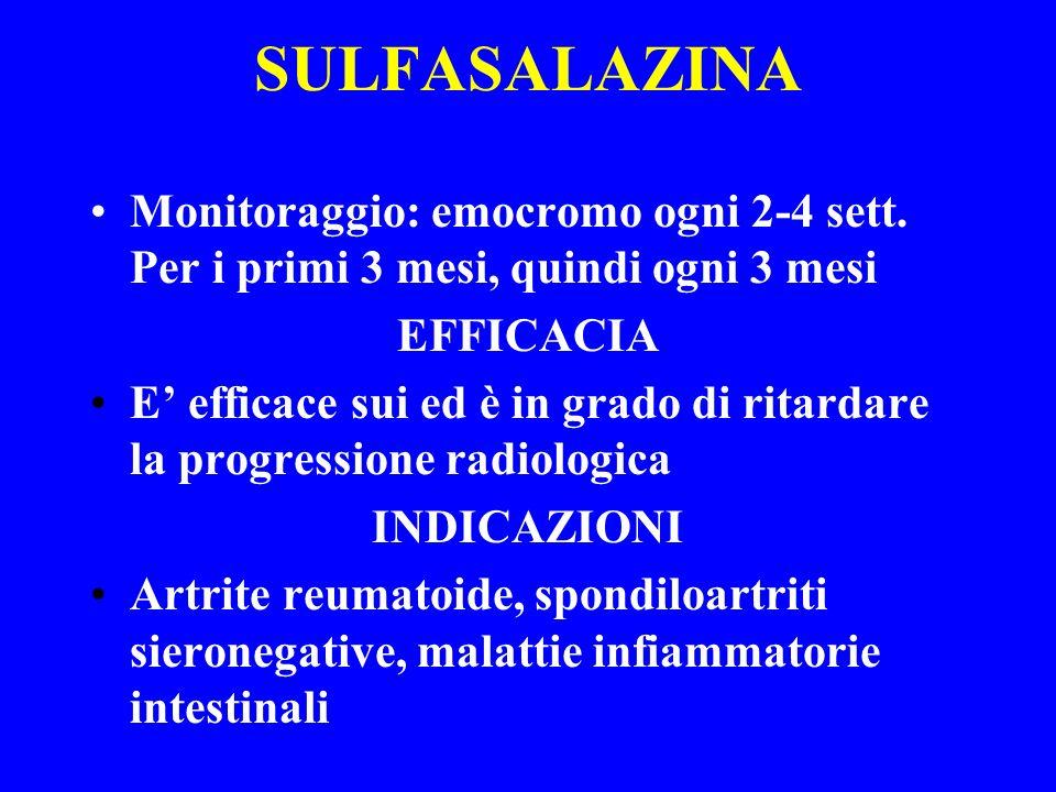 SULFASALAZINA Monitoraggio: emocromo ogni 2-4 sett. Per i primi 3 mesi, quindi ogni 3 mesi. EFFICACIA.