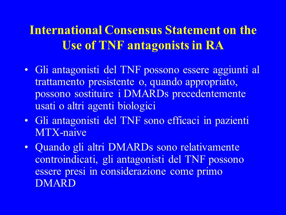 International Consensus Statement on the Use of TNF antagonists in RA