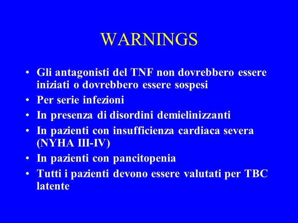 WARNINGS Gli antagonisti del TNF non dovrebbero essere iniziati o dovrebbero essere sospesi. Per serie infezioni.