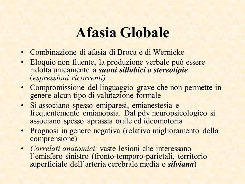 Afasia Globale Combinazione di afasia di Broca e di Wernicke