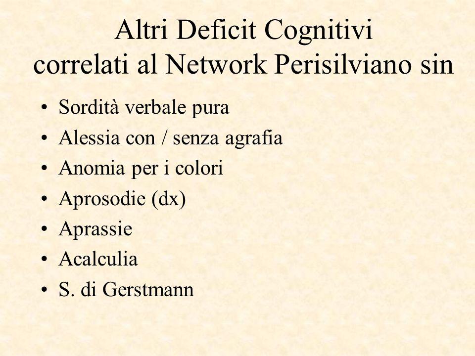 Altri Deficit Cognitivi correlati al Network Perisilviano sin