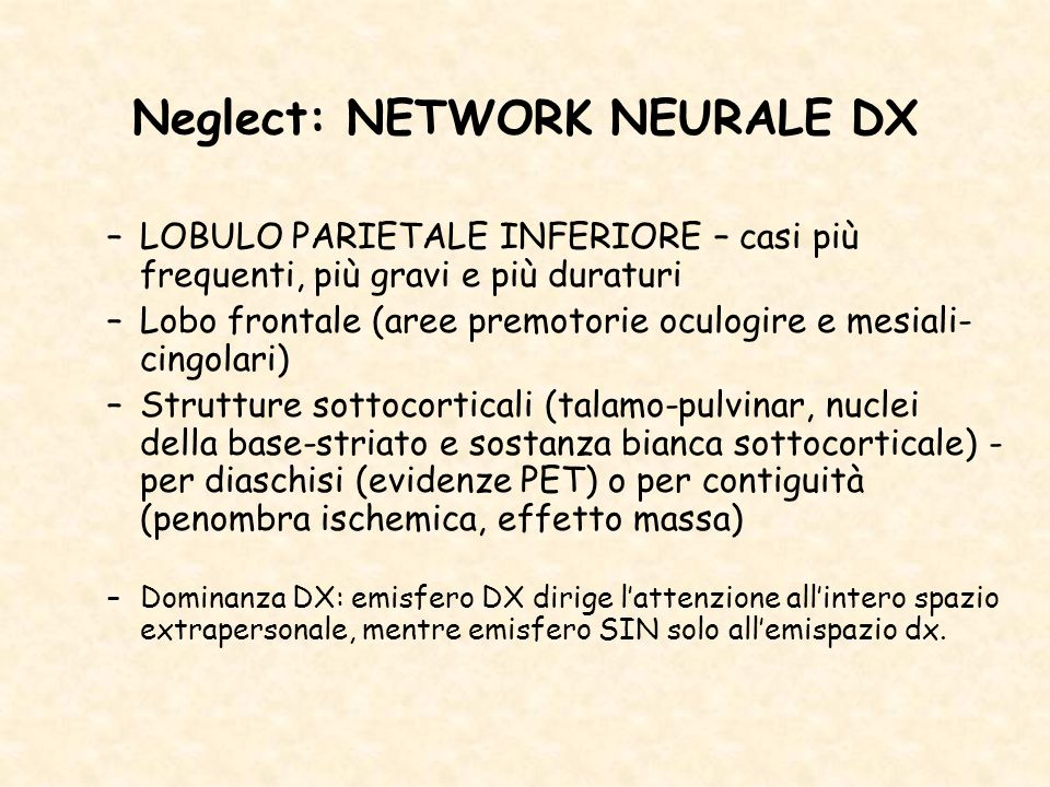 Neglect: NETWORK NEURALE DX