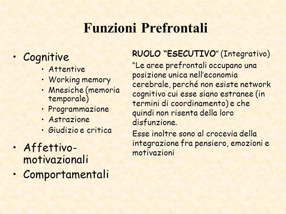 Funzioni Prefrontali Cognitive Affettivo-motivazionali Comportamentali