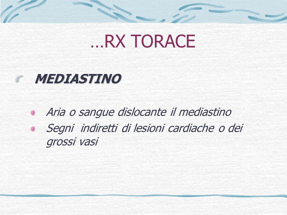 …RX TORACE MEDIASTINO Aria o sangue dislocante il mediastino
