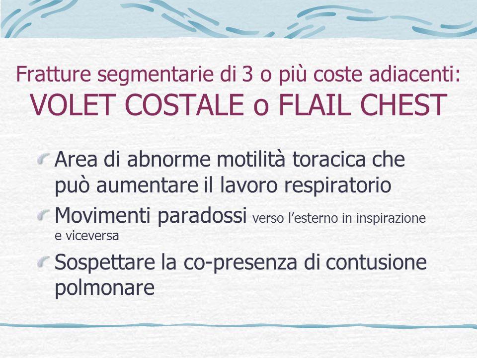 Fratture segmentarie di 3 o più coste adiacenti: VOLET COSTALE o FLAIL CHEST