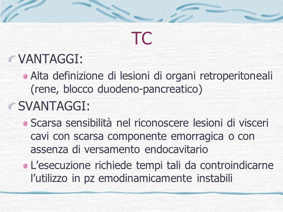 TC VANTAGGI: SVANTAGGI: